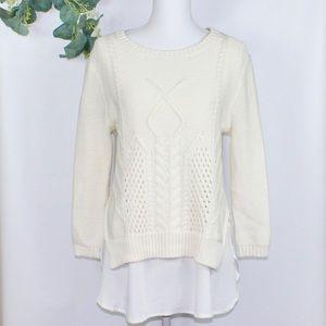 NWT August Silk Sweater with Tank Top Hem